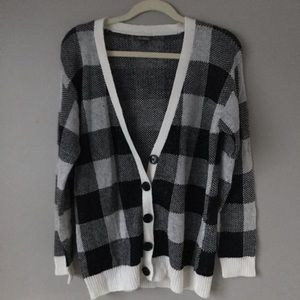 Wild Fable Black/White Checkered Long Cardigan